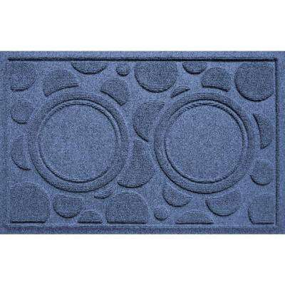Navy 18 in. x 27 in. Dog Bowl Dots Polypropylene Pet Mat