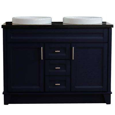 49 in. W x 22 in. D Double Bath Vanity in Blue with Granite Vanity Top in Black Galaxy with White Round Basins