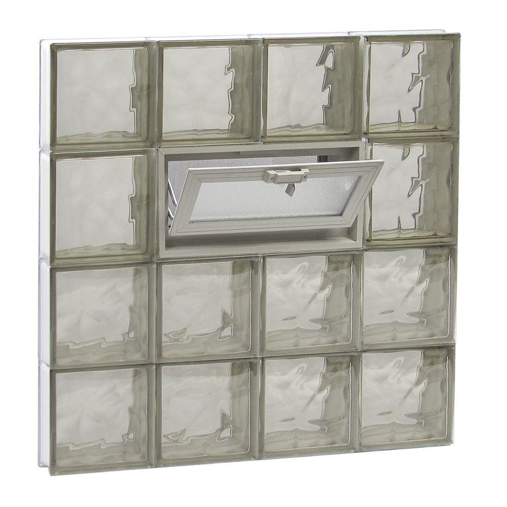 31 in. x 31 in. x 3.125 in. Frameless Wave Pattern Vented Bronze Glass Block Window