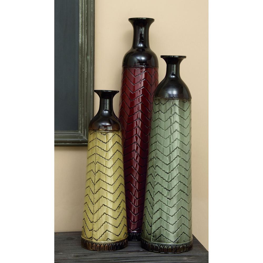 Chevron Set of 3 Metal Decorative Vase