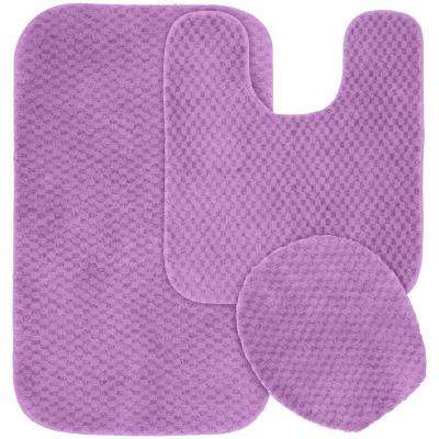 Cabernet Purple 21 in. x 34 in. Washable Bathroom 3-Piece Rug Set