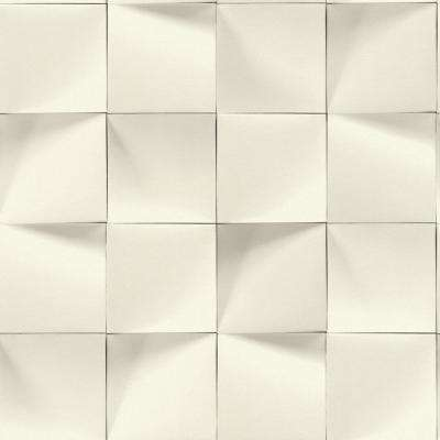 8 in. x 10 in. Eyre White Three-Dimensional Geometric Wallpaper Sample