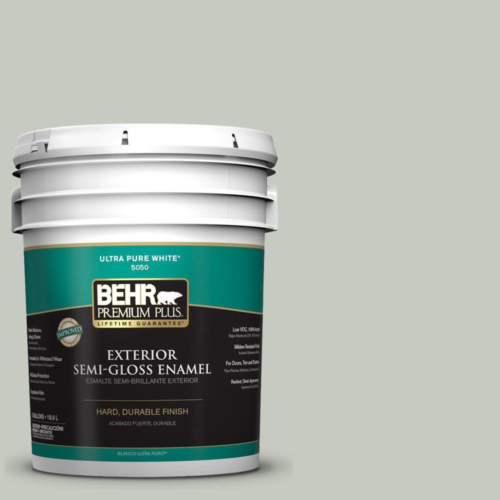 BEHR Premium Plus 5-gal. #PPL-80 Dynasty Celadon Semi-Gloss Enamel Exterior Paint