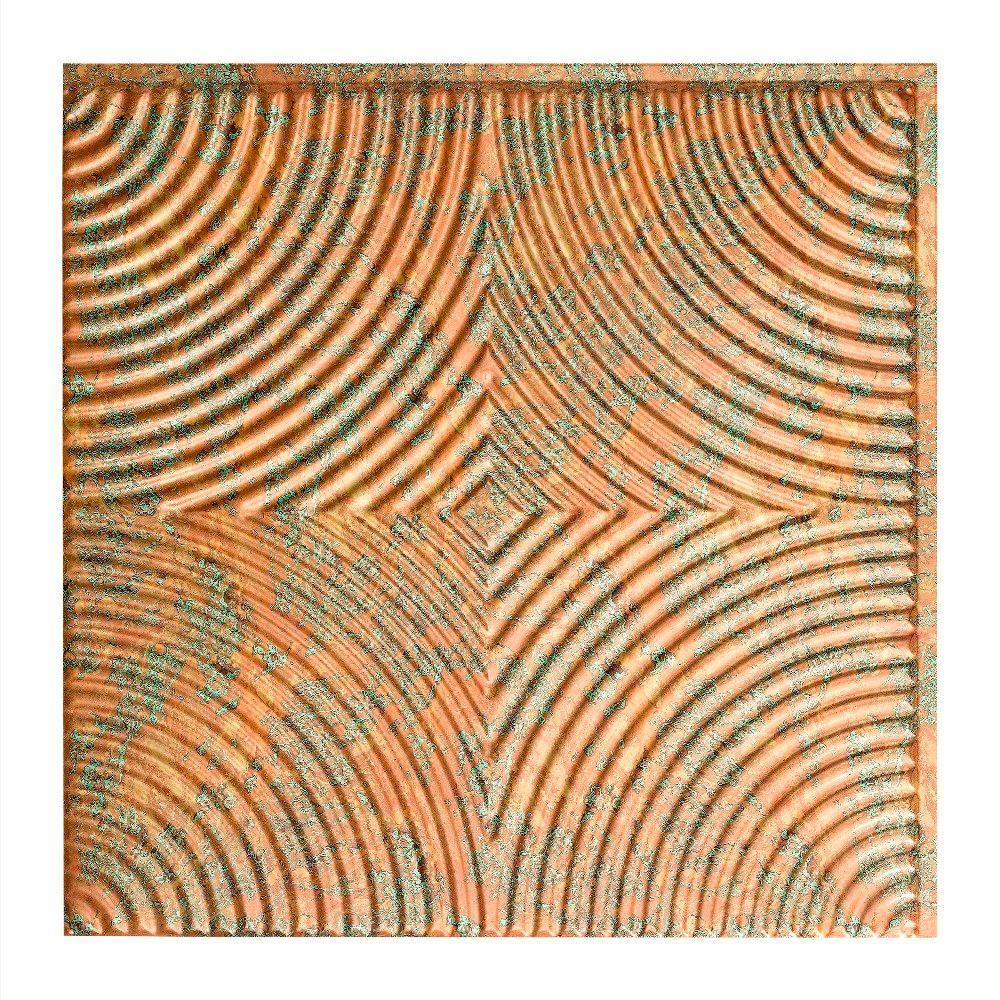 Echo - 2 ft. x 2 ft. Glue-up Ceiling Tile in Copper Fantasy