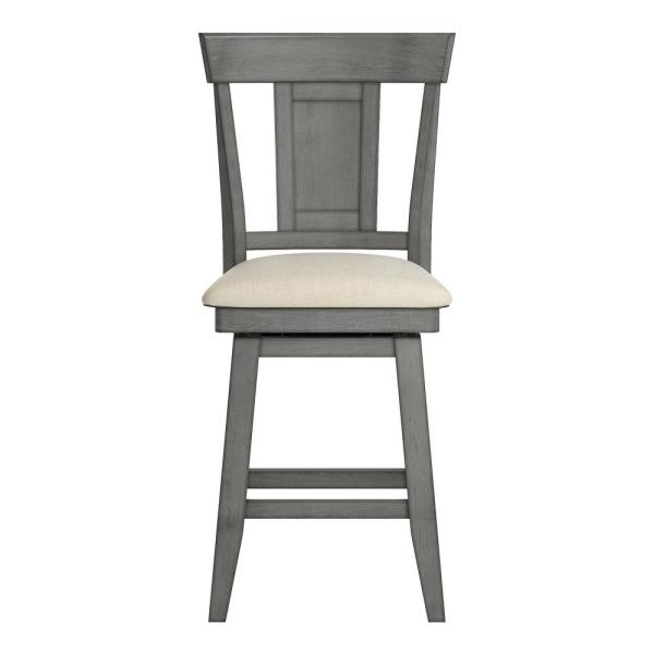 HomeSullivan 24 in. H Antique Grey Panel Back Swivel Chair with