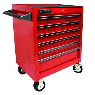 Professional 27 in. 6-Drawer Rolling Cabinet, Red
