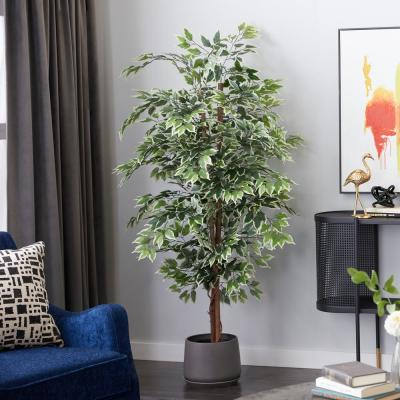 Green 75 in. Ficus Tree Artificial Decorative Foliage