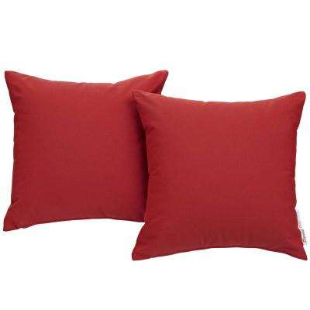 Summon Sunbrella Square Outdoor Throw Pillow in Red 2-Piece Set