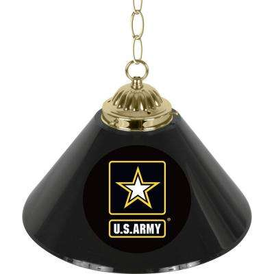 United States Army 1-Light Single Shade Brass and Black Hanging Lamp