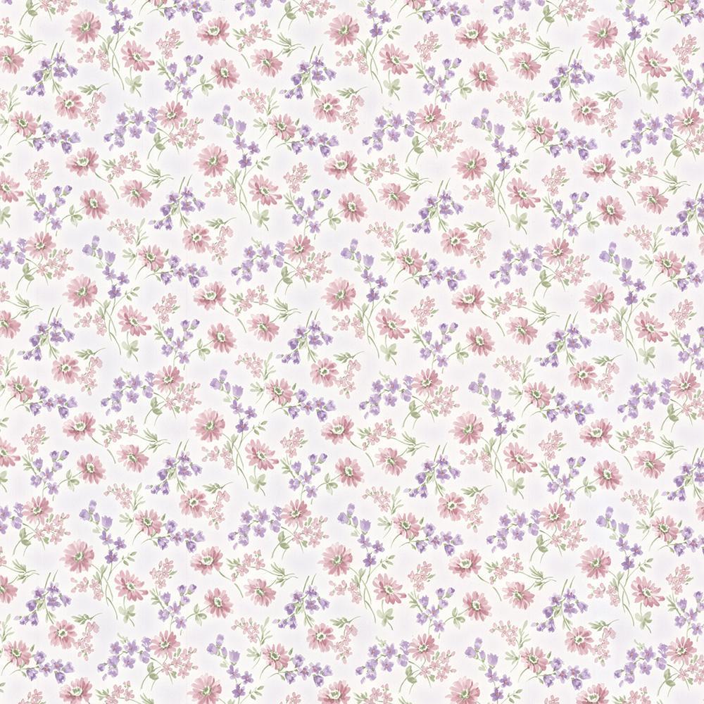 Brewster Leif Purple Dense Floral Toss Wallpaper Sample 347-68866SAM