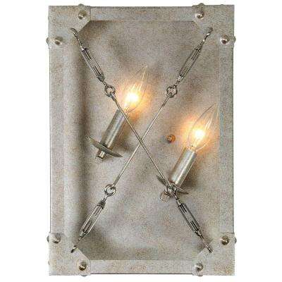 Askew 2-Light Silver Age Right Orientation Wall Sconce