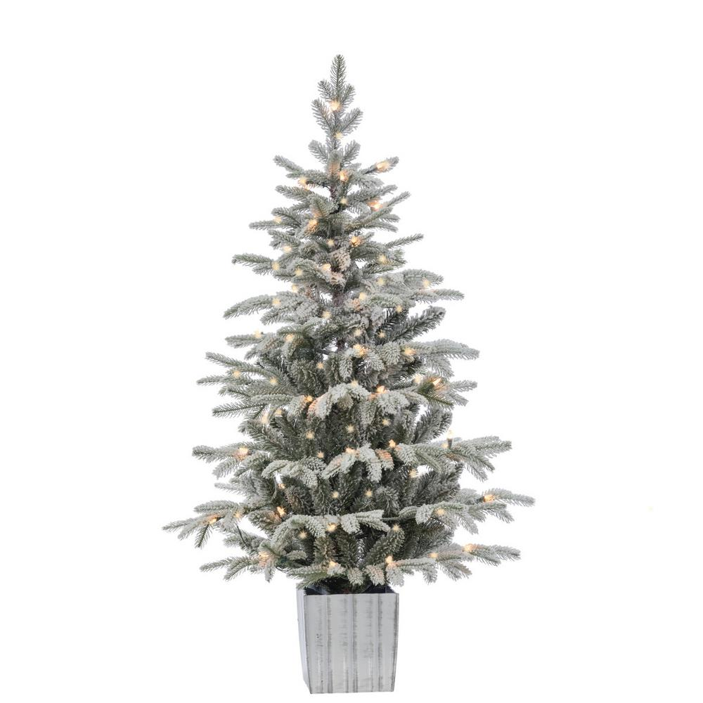 4.5 ft. Potted Lightly Flocked Natural Cut Iceland Fir Artificial Christmas