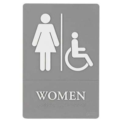 6 in. x 11 in. Plastic ADA Women Access Sign