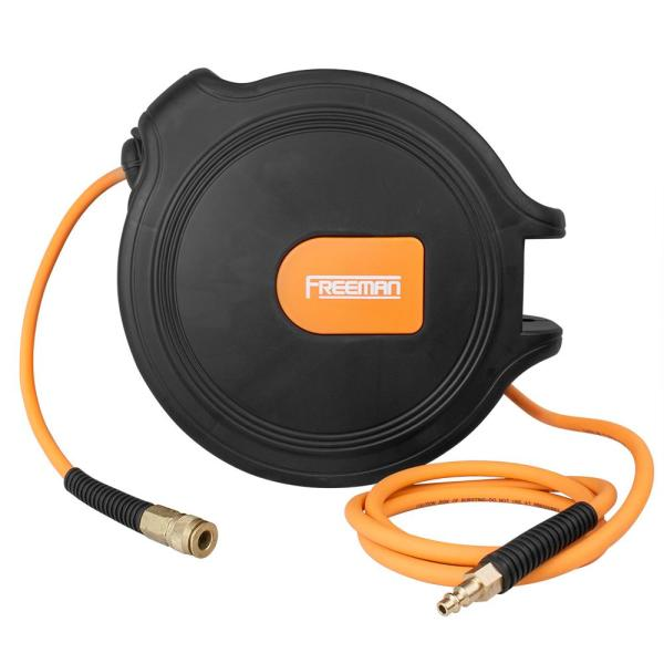 Freeman 65 Ft Compact Retractable Air Hose Reel With 1 4 In Hybrid Air Hose And 180 Degree Swivel Wall Mount P1465chr The Home Depot