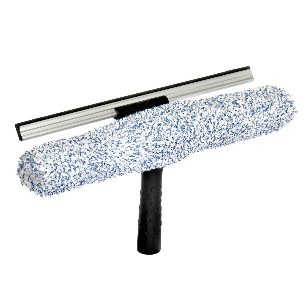 Alpine Industries 14 in. Microfiber Window 2-in-1 Combo Professional Squeegee and Window Scrubber