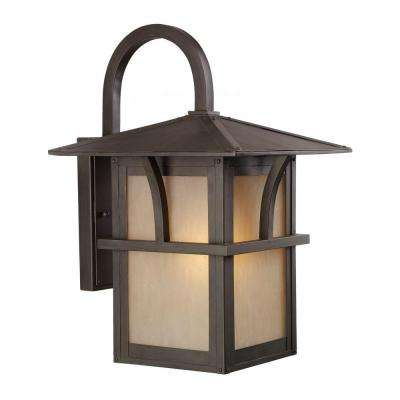 Medford Lakes 1-Light Statuary Bronze Outdoor 17 in. Wall Mount Lantern with LED Bulb
