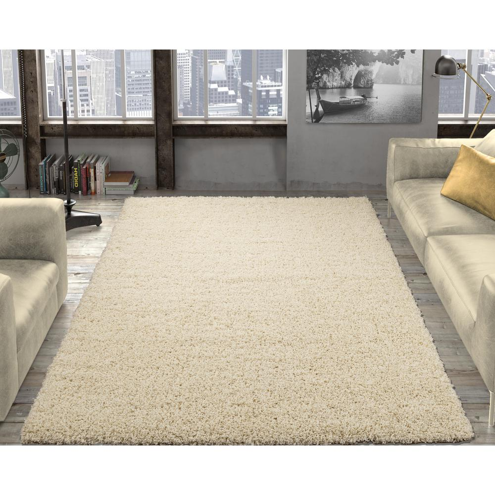 Ottomanson Contemporary Solid Beige 3 ft. x 5 ft. Shag Area Rug