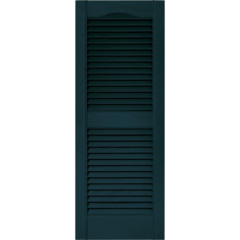 Exterior window shutters pair louvered vinyl midnight blue - Exterior louvered window shutters ...
