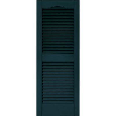 15 in. x 39 in. Louvered Vinyl Exterior Shutters Pair in #166 Midnight Blue