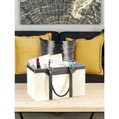 Matte Black and Gray Real Leather with Fur Freestanding Magazine Holder