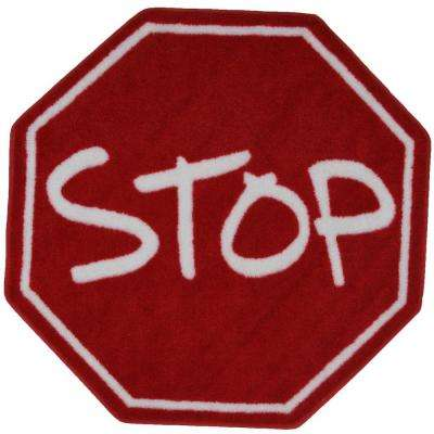 Fun Time Shape Stop Sign Red and White 39 in. Round Area Rug