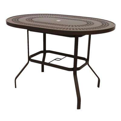 Marco Island 42 in. x 60 in. Dark Cafe Brown Oval Commercial Aluminum Bar Height Outdoor Patio Dining Table