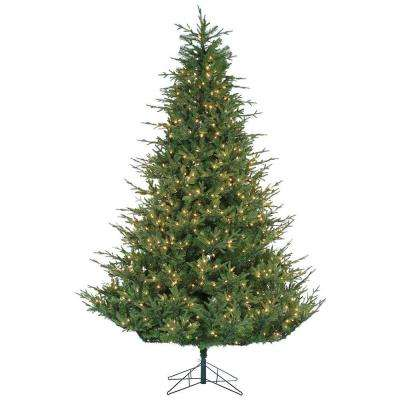 9 ft. Pre-Lit Natural Cut Upswept Chesterfield Spruce Artificial Christmas Tree with Power Pole and Clear Lights