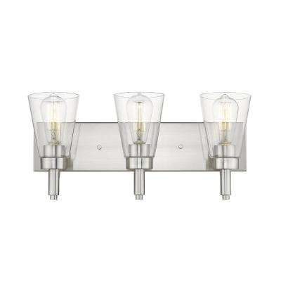 Sinatra VII 3-Light Satin Nickel Vanity Light with Clear Glass Shade