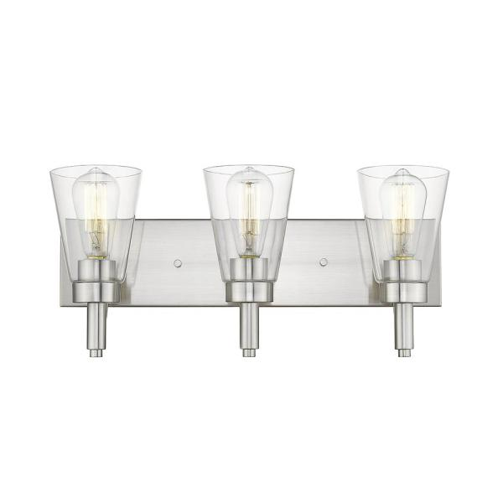 Sinatra VII 3-Light Satin Nickel Vanity Light with Clear Glass Shade