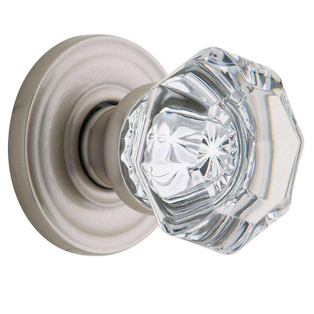 Superbe Baldwin Filmore Satin Nickel Half Dummy Crystal Door Knob
