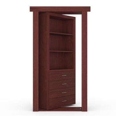 32 in. x 80 in. Flush Mount Assembled Dresser Door Maple Cherry Stained Left-Hand Outswing