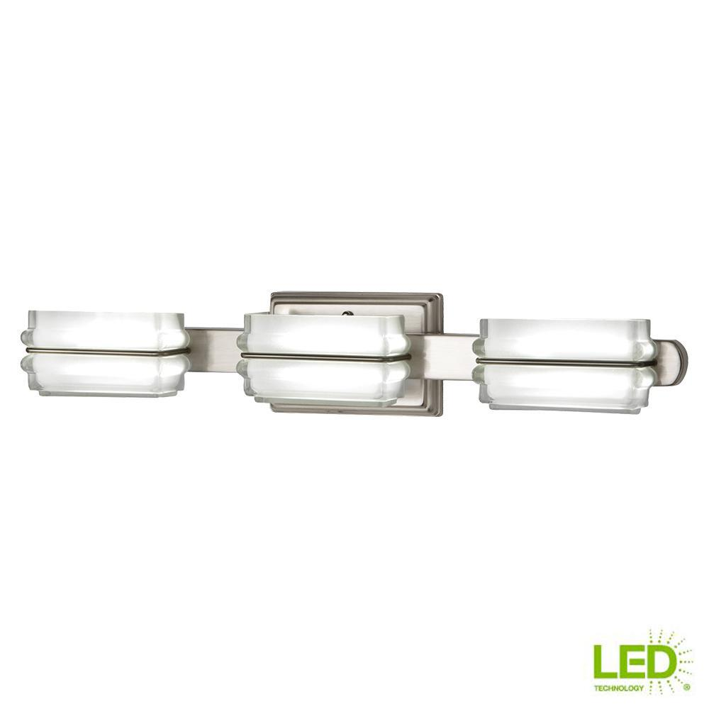 40-Watt Equivalent 3-Light Brushed Nickel Integrated LED Vanity Light with Clear