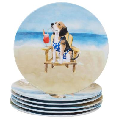 Hot Dogs 6-Piece Coastal Multi-colored Melamine Outdoor 11 in. Dinner Plate Set (Service for 6)