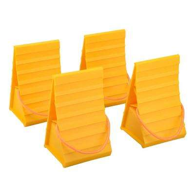 Plastic Construction Wheel Chock with Pull Rope (4-Pack)