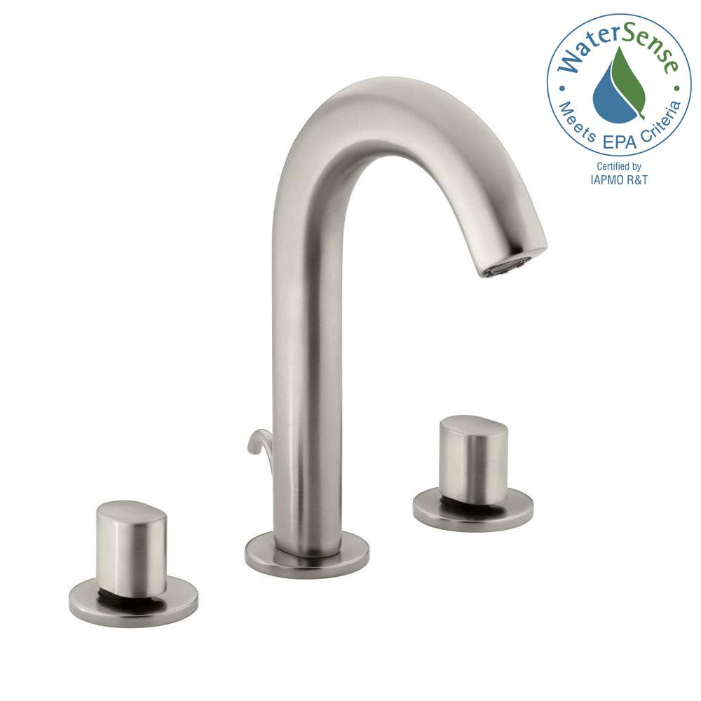 KOHLER Oblo 8 in. Widespread 2-Handle Low-Arc Water-Saving Bathroom ...