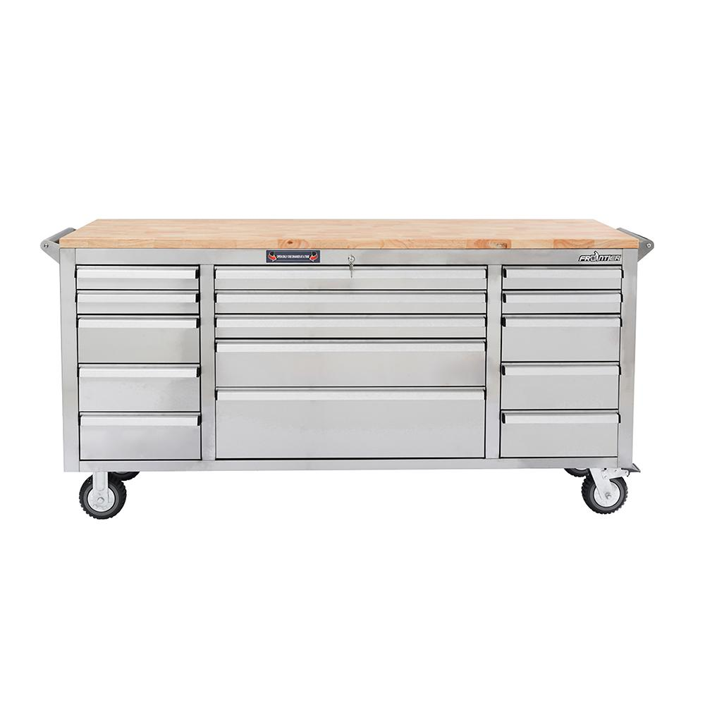 72 in. 15-Drawer Mobile Workbench Tool Chest Cabinet with Wooden Top