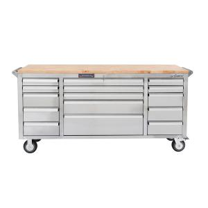Frontier 72 inch 15-Drawer Mobile Work Bench Tool Chest Cabinet with Wooden Top in Stainless Steel by Frontier