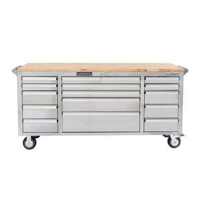 72 in. 15 Drawer Mobile Work Base, Stainless Steel with Wooden Top