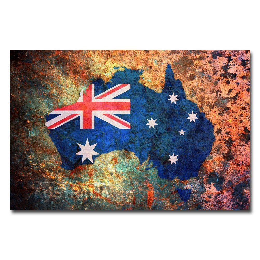 Trademark Fine Art 16 in. x 24 in. Australia Flag Map Canvas Art
