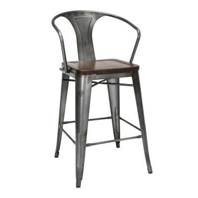 161 Collection Industrial Modern in Gunmetal/Walnut with Arms Solid Wood Seat 4-Pack 26 in. Mid Back Metal Bar Stools