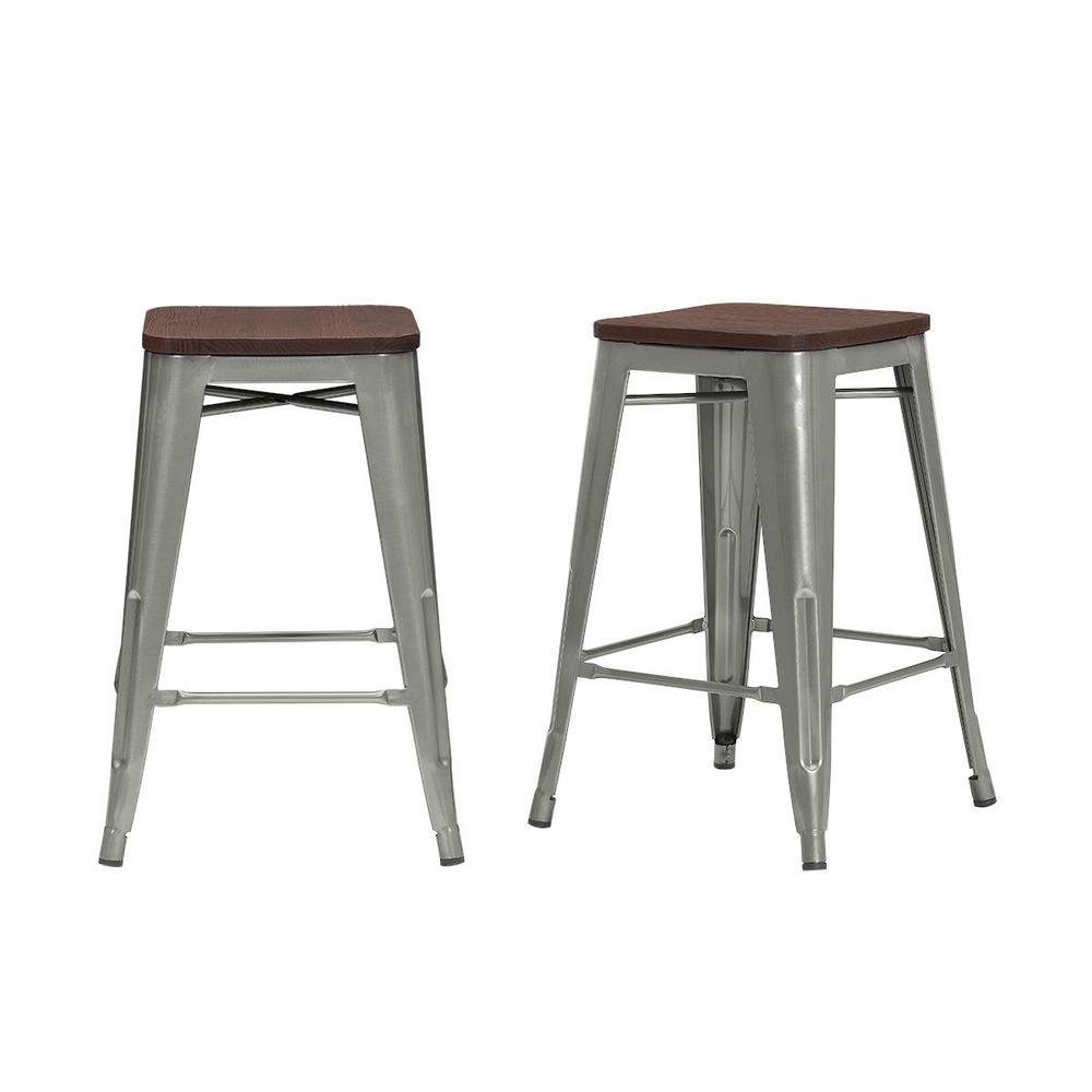 StyleWell Finwick Gunmetal Gray Metal Backless Counter Stool with Wood Seat (Set of 2) (16.54 in. W x 23.62 in. H), Brown/Gunmetal Gray was $119.0 now $71.4 (40.0% off)
