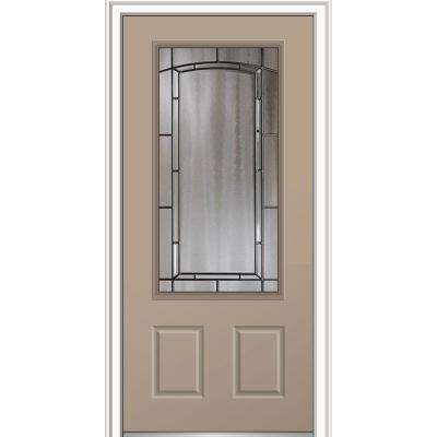 36 in. x 80 in. Solstice Glass Sandal Right-Hand Inswing Decorative 3/4-Lite 2-Panel Painted Steel Prehung Front Door
