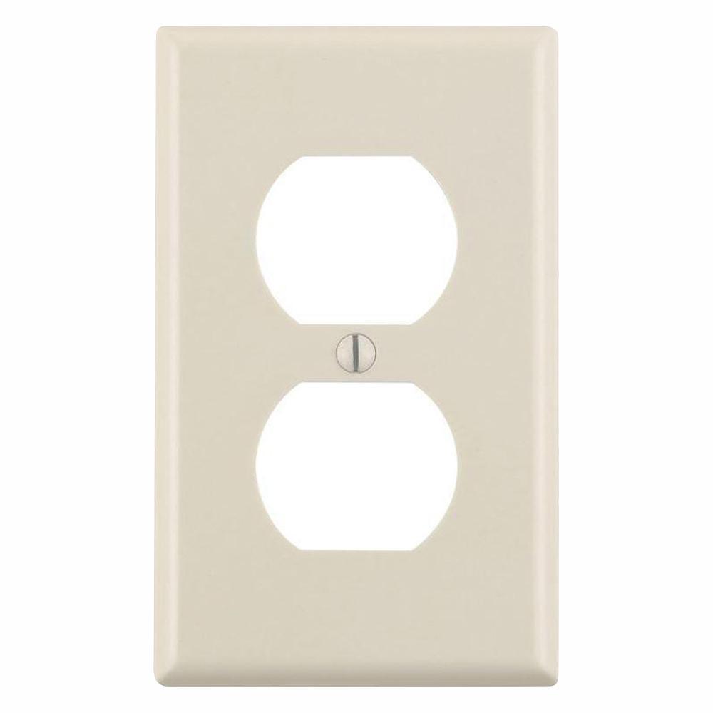 Leviton 1-Gang Duplex Outlet Wall Plate, Light Almond (10-Pack)