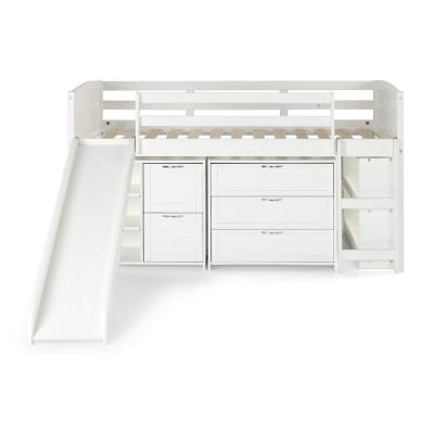 White Twin Louver Low Loft Bed with Slide, 3-Drawers, 2-Drawer Chest and Bookshelves