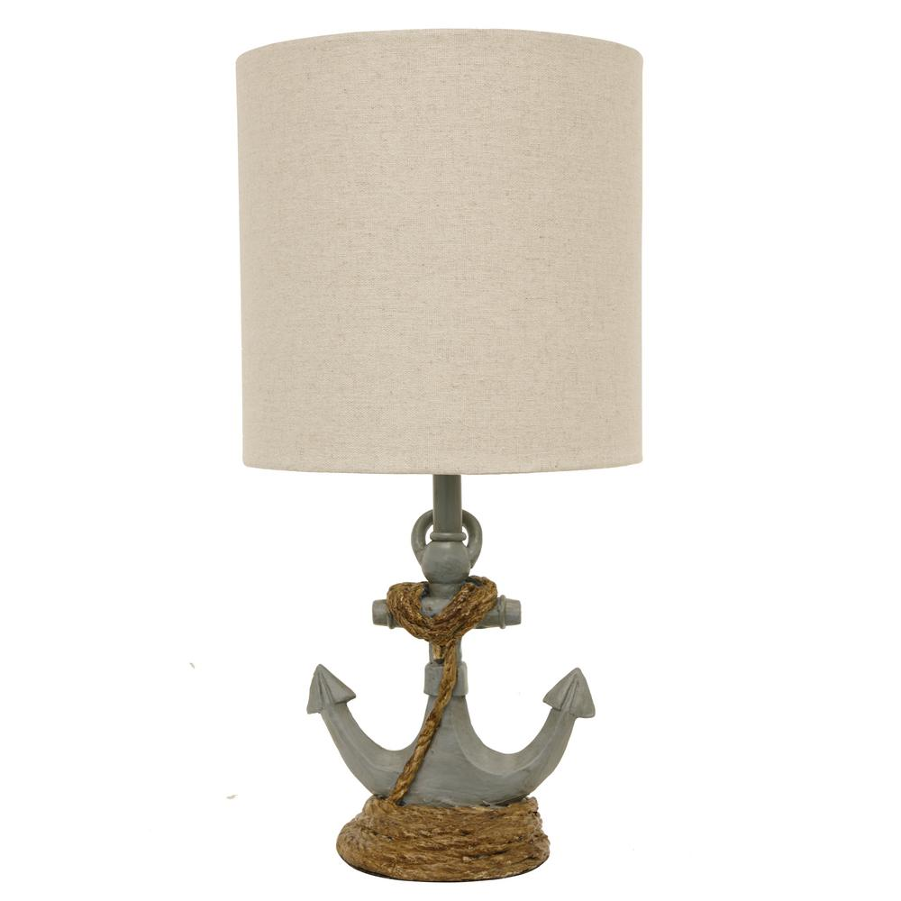 Attractive Decor Therapy Saylor Anchor 16 In. Antique Blue Table Lamp With Linen Shade