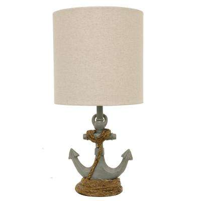 Saylor Anchor 16 in. Antique Blue Table Lamp with Linen Shade