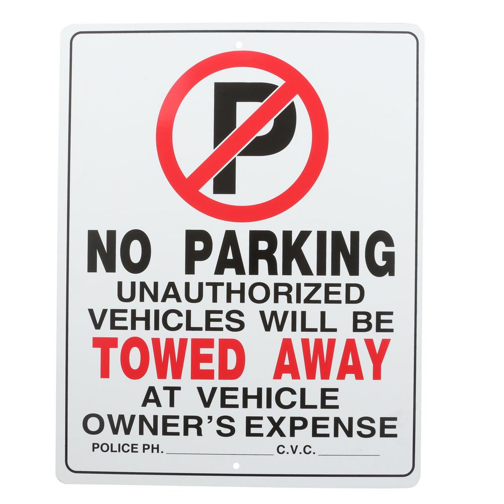 Everbilt 15 in. x 19 in. Plastic No Parking Sign