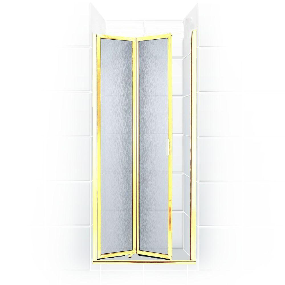 Coastal Shower Doors Paragon Series 30 in. x 66 in. Framed Bi-Fold Double Hinged Shower Door in Gold and Obscure Glass