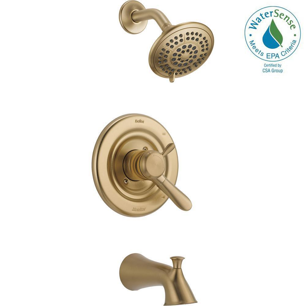 Delta Lahara 1-Handle Tub and Shower Faucet Trim Kit in Champagne Bronze (Valve Not Included)