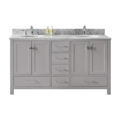 Virtu USA Caroline Avenue 60 in. W Double Bath Vanity in Cashmere Grey with Marble Vanity Top and Round Basin with Faucet